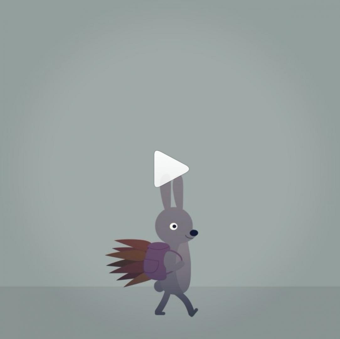Bunny walking in rain illustrated gif
