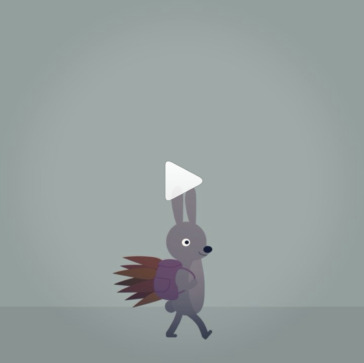 Bunny walking in rain illustrated gif